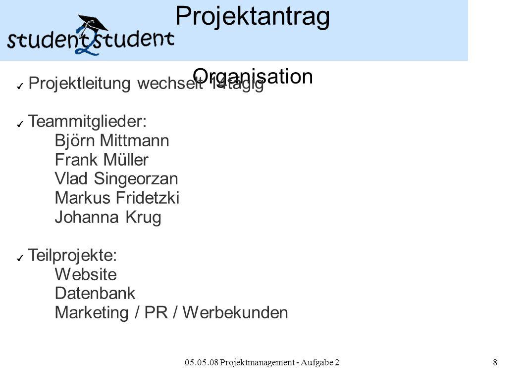05.05.08 Projektmanagement - Aufgabe 28 Projektantrag Organisation ✔ Projektleitung wechselt 14tägig ✔ Teammitglieder: Björn Mittmann Frank Müller Vla