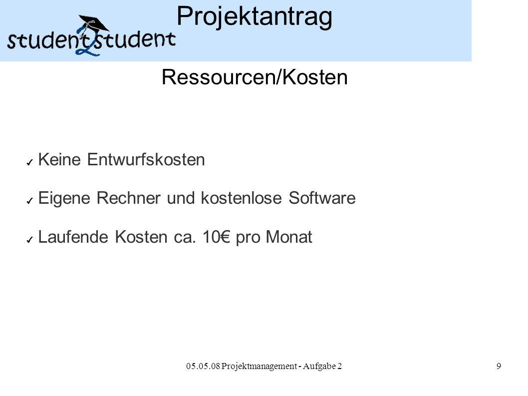 05.05.08 Projektmanagement - Aufgabe 29 Projektantrag Ressourcen/Kosten ✔ Keine Entwurfskosten ✔ Eigene Rechner und kostenlose Software ✔ Laufende Kos