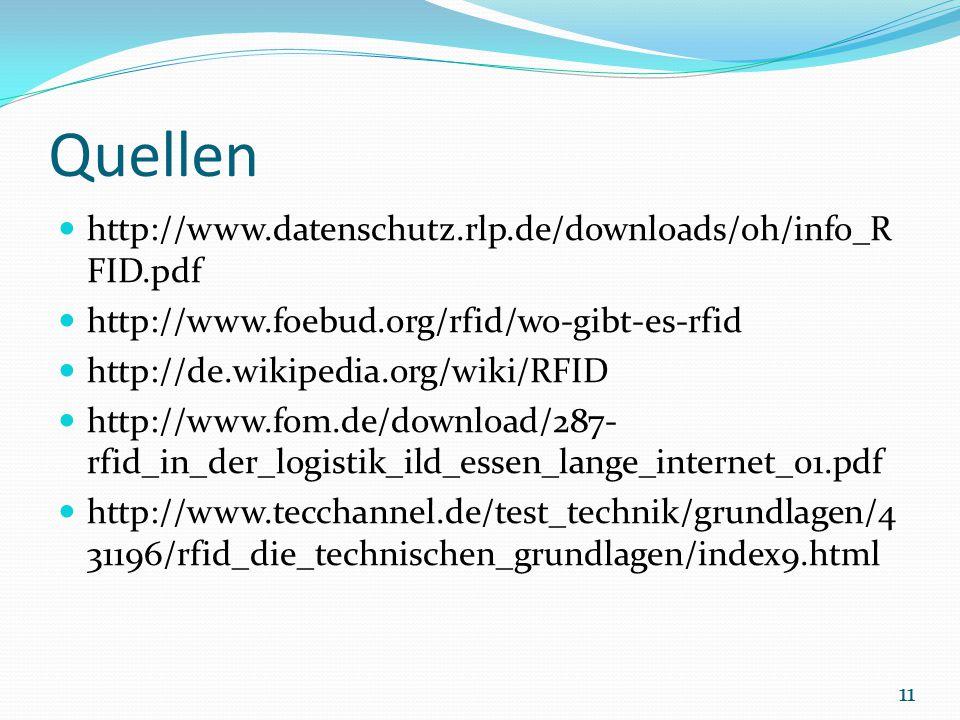 Quellen http://www.datenschutz.rlp.de/downloads/oh/info_R FID.pdf http://www.foebud.org/rfid/wo-gibt-es-rfid http://de.wikipedia.org/wiki/RFID http://www.fom.de/download/287- rfid_in_der_logistik_ild_essen_lange_internet_01.pdf http://www.tecchannel.de/test_technik/grundlagen/4 31196/rfid_die_technischen_grundlagen/index9.html 11