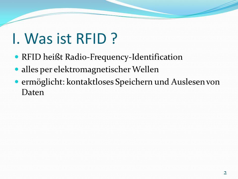 I. Was ist RFID ? RFID heißt Radio-Frequency-Identification alles per elektromagnetischer Wellen ermöglicht: kontaktloses Speichern und Auslesen von D