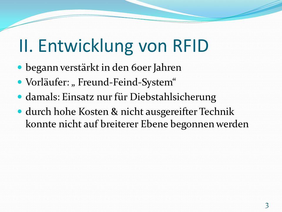 """II. Entwicklung von RFID begann verstärkt in den 60er Jahren Vorläufer: """" Freund-Feind-System"""" damals: Einsatz nur für Diebstahlsicherung durch hohe K"""
