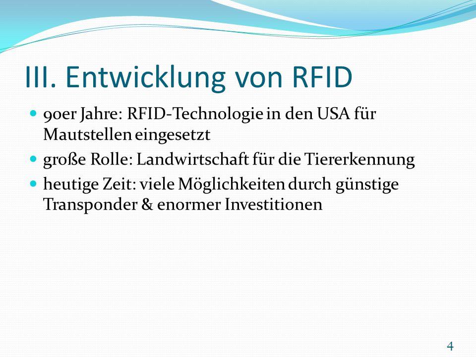 III. Entwicklung von RFID 90er Jahre: RFID-Technologie in den USA für Mautstellen eingesetzt große Rolle: Landwirtschaft für die Tiererkennung heutige