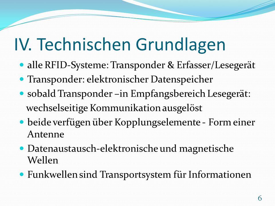 IV. Technischen Grundlagen alle RFID-Systeme: Transponder & Erfasser/Lesegerät Transponder: elektronischer Datenspeicher sobald Transponder –in Empfan