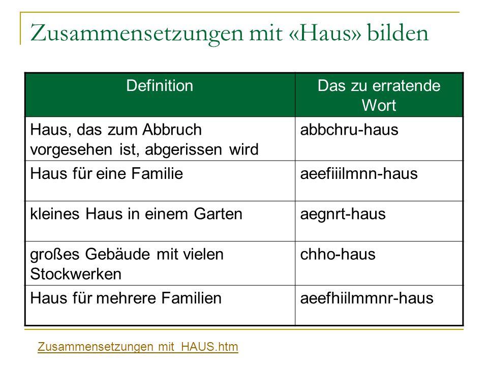 Zusammensetzungen mit «Haus» bilden DefinitionDas zu erratende Wort Haus, das zum Abbruch vorgesehen ist, abgerissen wird abbсhru-haus Haus für eine F