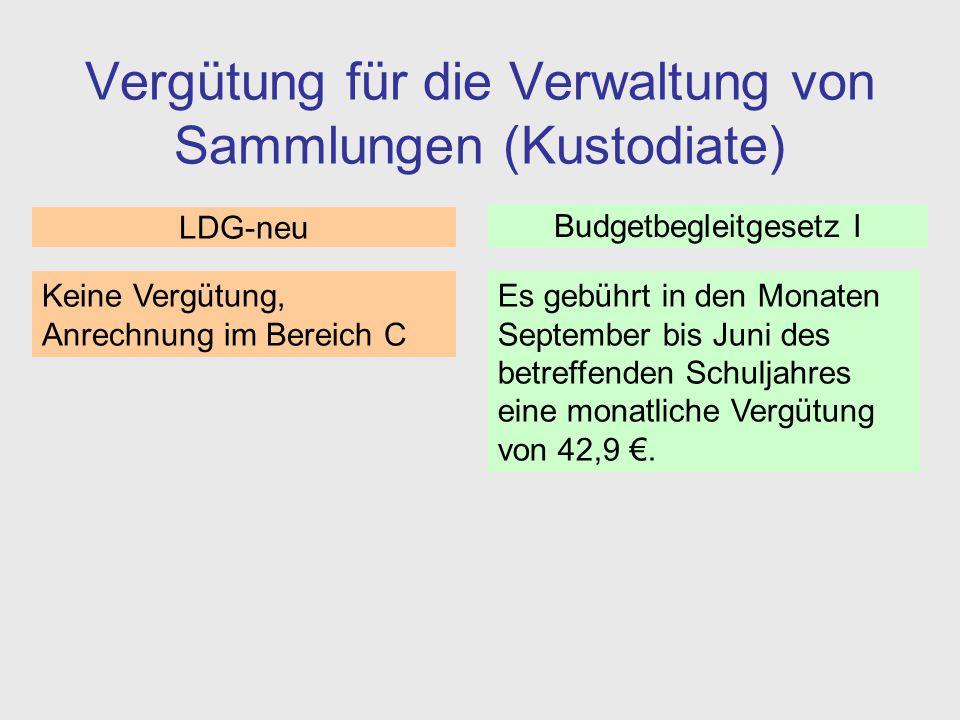 Vergütung für die Verwaltung von Sammlungen (Kustodiate) Es gebührt in den Monaten September bis Juni des betreffenden Schuljahres eine monatliche Ver