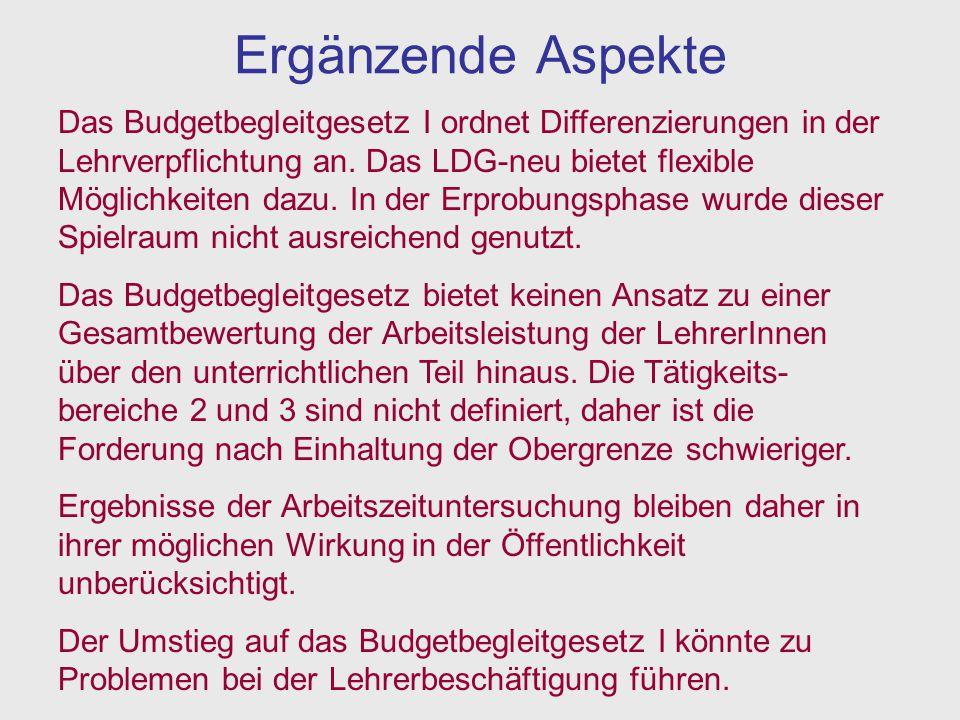 Ergänzende Aspekte Das Budgetbegleitgesetz I ordnet Differenzierungen in der Lehrverpflichtung an. Das LDG-neu bietet flexible Möglichkeiten dazu. In