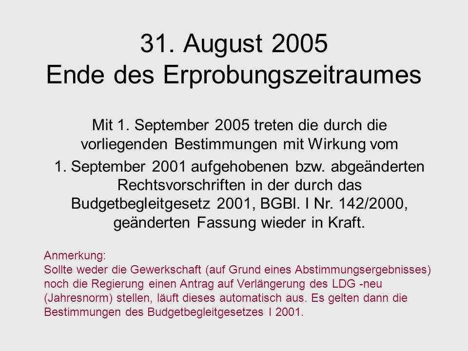 31. August 2005 Ende des Erprobungszeitraumes Mit 1. September 2005 treten die durch die vorliegenden Bestimmungen mit Wirkung vom 1. September 2001 a