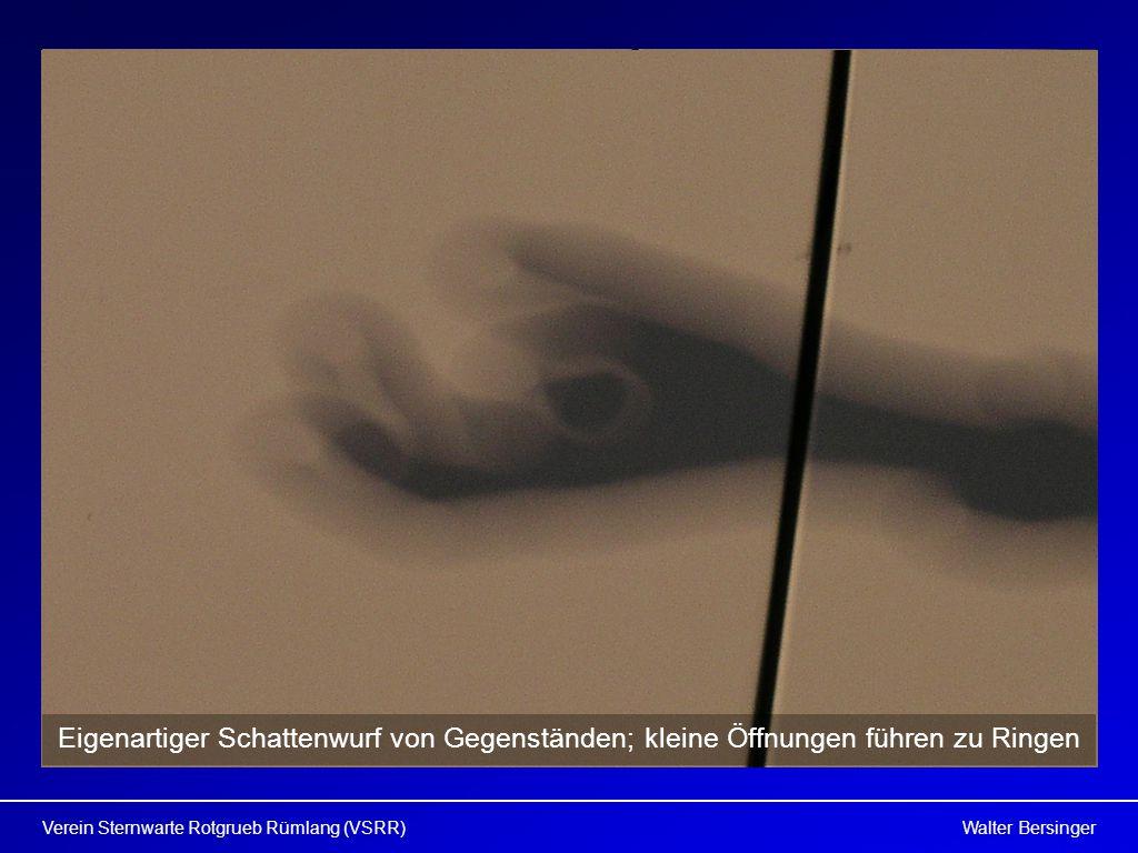 Walter BersingerVerein Sternwarte Rotgrueb Rümlang (VSRR) Eigenartiger Schattenwurf von Gegenständen; kleine Öffnungen führen zu Ringen