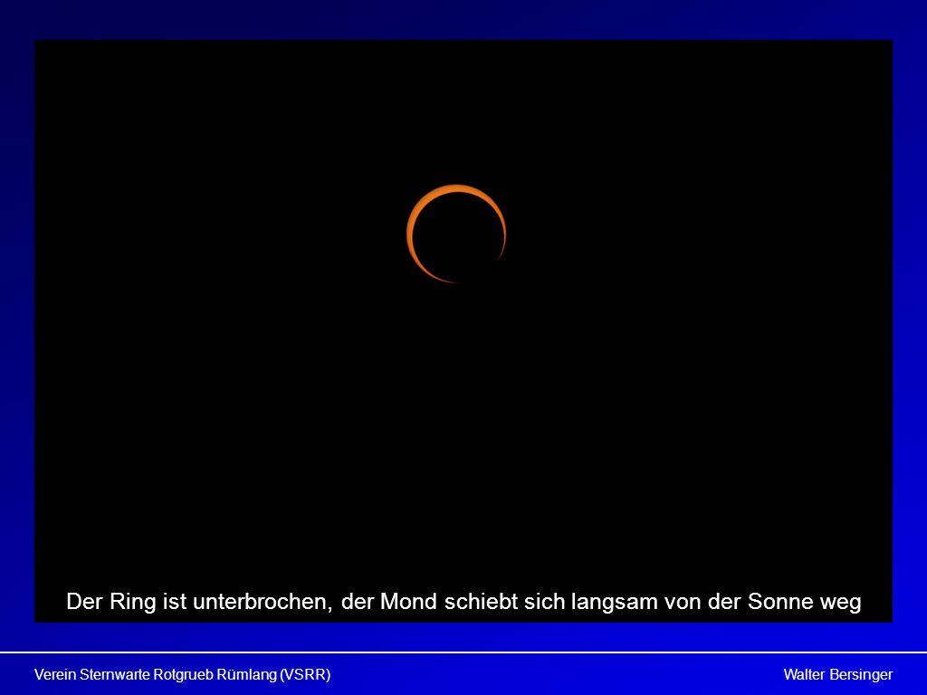 Walter BersingerVerein Sternwarte Rotgrueb Rümlang (VSRR) Der Ring ist unterbrochen, der Mond schiebt sich langsam von der Sonne weg