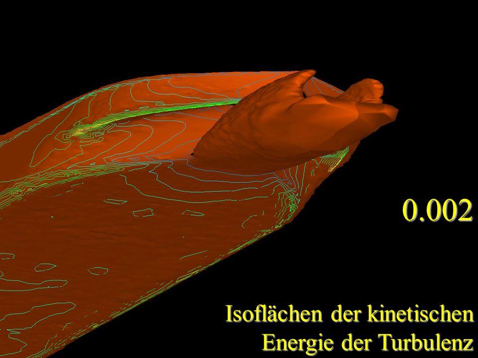 Isoflächen der kinetischen Energie der Turbulenz 0.002