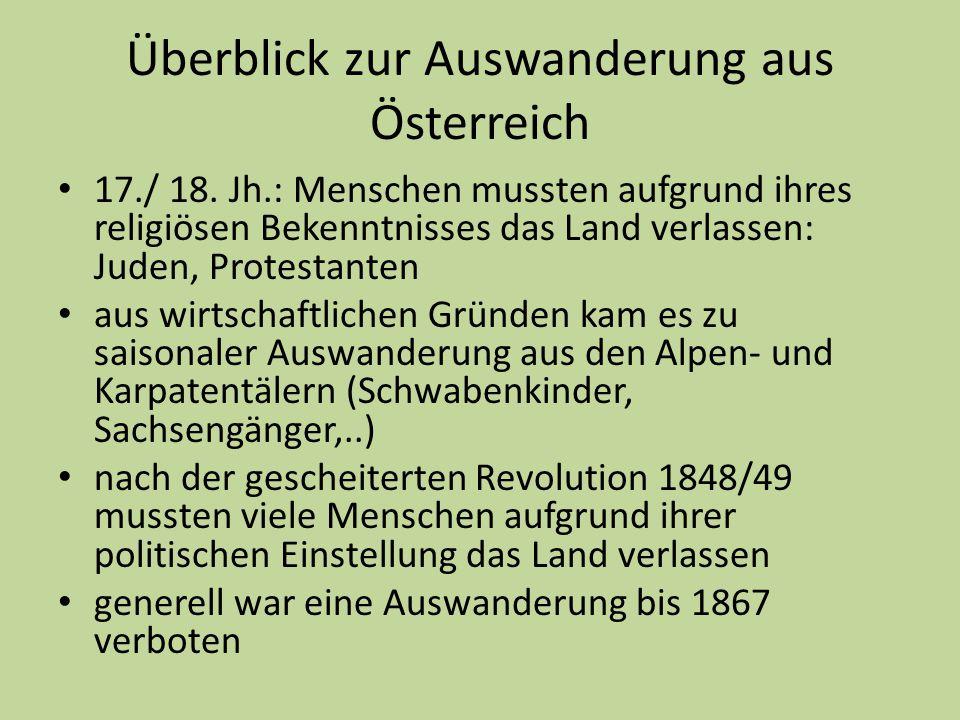 Überblick zur Auswanderung aus Österreich 17./ 18. Jh.: Menschen mussten aufgrund ihres religiösen Bekenntnisses das Land verlassen: Juden, Protestant