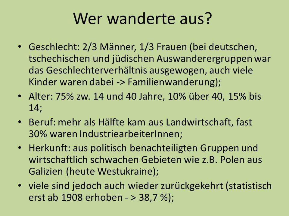Wer wanderte aus? Geschlecht: 2/3 Männer, 1/3 Frauen (bei deutschen, tschechischen und jüdischen Auswanderergruppen war das Geschlechterverhältnis aus