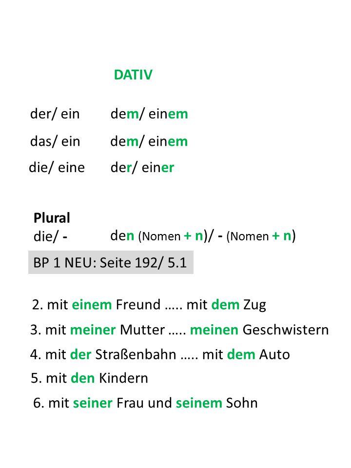 die/ eine DATIV der/ ein das/ ein dem/ einem der/ einer Plural die/ - den (Nomen + n)/ - (Nomen + n) BP 1 NEU: Seite 192/ 5.1 2. mit einem Freund …..