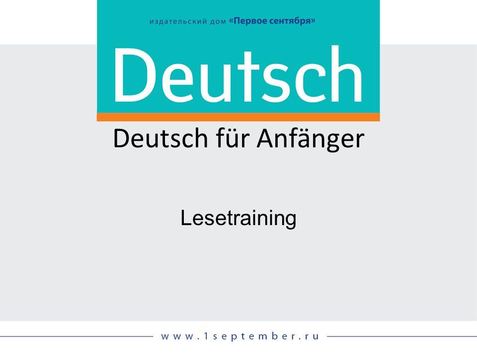 Deutsch für Anfänger Lesetraining