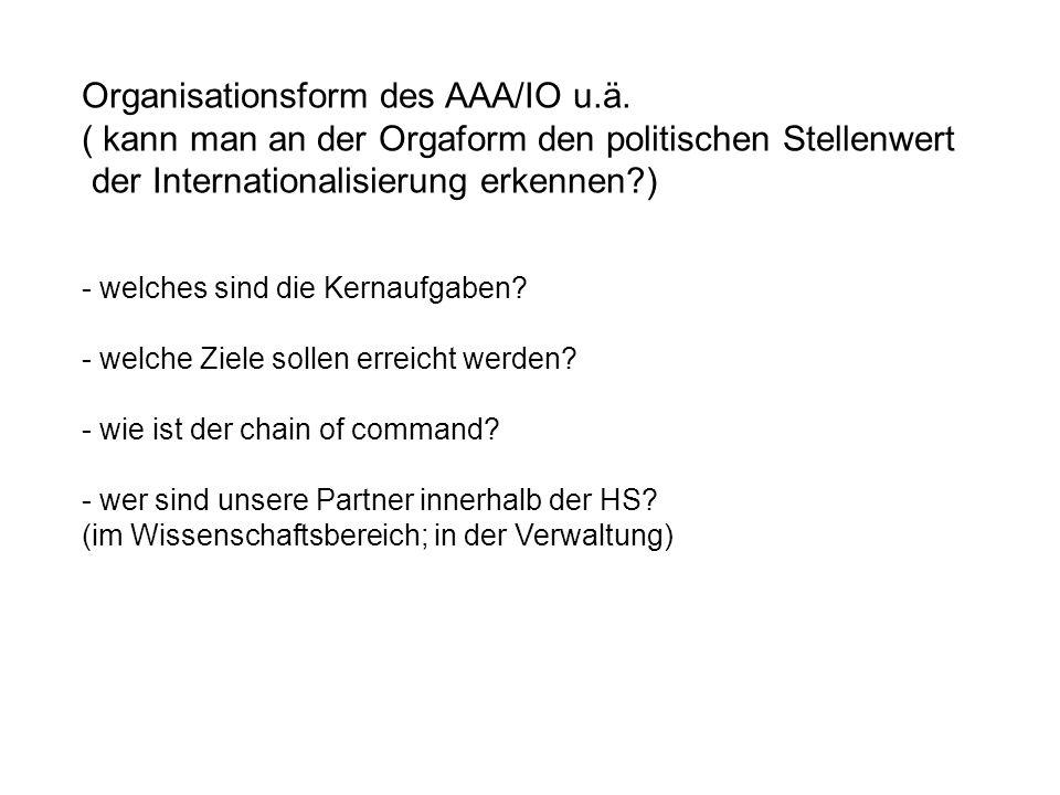 Organisationsform des AAA/IO u.ä.