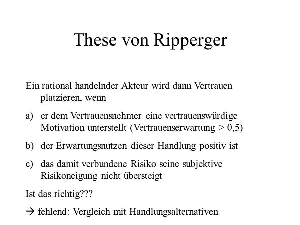 These von Ripperger Ein rational handelnder Akteur wird dann Vertrauen platzieren, wenn a)er dem Vertrauensnehmer eine vertrauenswürdige Motivation un