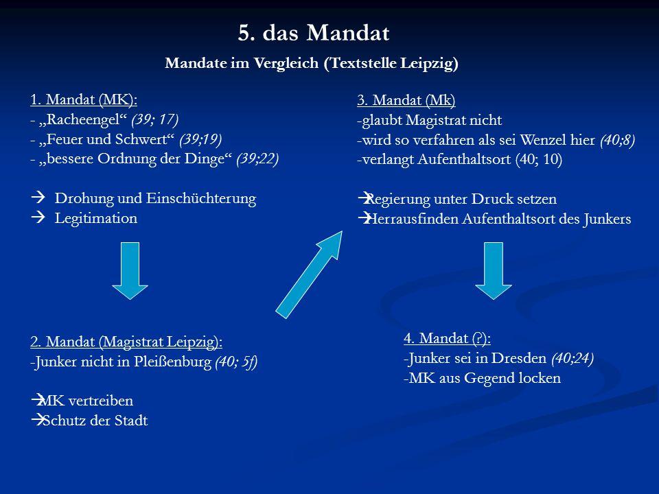 5. das Mandat Mandate im Vergleich (Textstelle Leipzig) 1.
