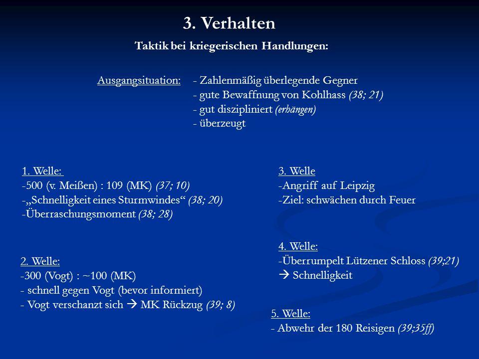 Taktik bei kriegerischen Handlungen: Ausgangsituation:- Zahlenmäßig überlegende Gegner - gute Bewaffnung von Kohlhass (38; 21) - gut diszipliniert (erhängen) - überzeugt 1.