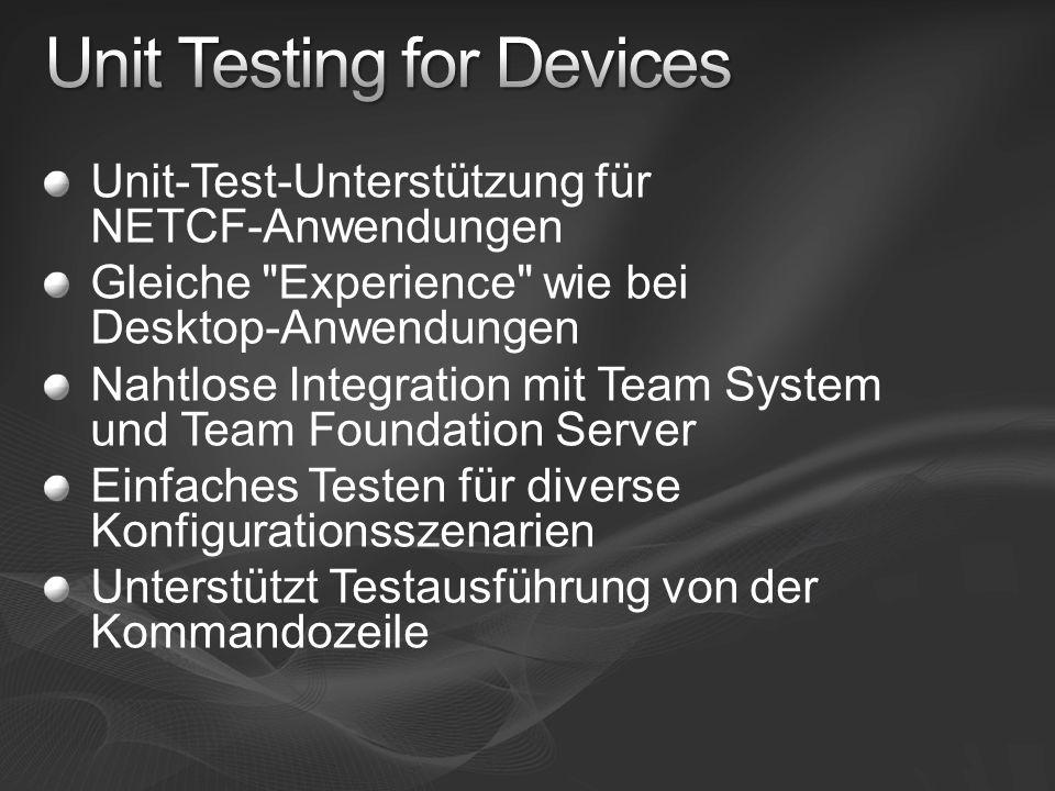 Unit-Test-Unterstützung für NETCF-Anwendungen Gleiche