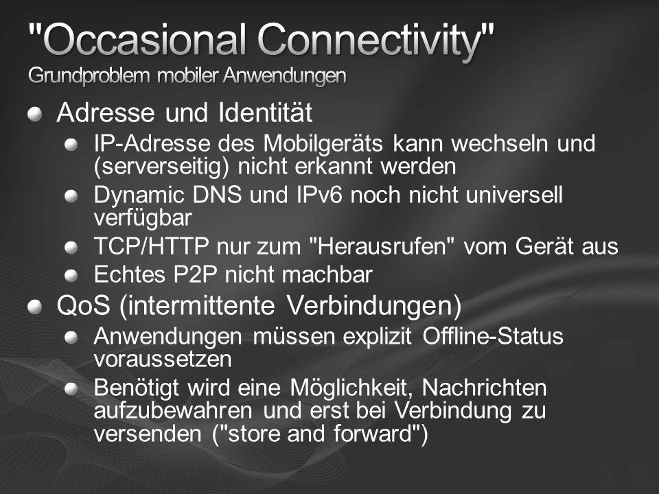 Adresse und Identität IP-Adresse des Mobilgeräts kann wechseln und (serverseitig) nicht erkannt werden Dynamic DNS und IPv6 noch nicht universell verf