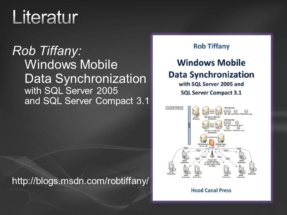 Rob Tiffany: Windows Mobile Data Synchronization with SQL Server 2005 and SQL Server Compact 3.1 http://blogs.msdn.com/robtiffany/