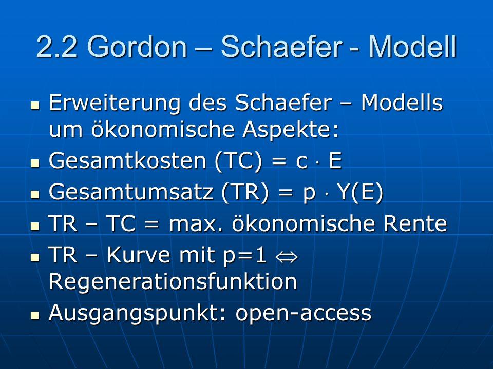 2.2 Gordon – Schaefer - Modell Erweiterung des Schaefer – Modells um ökonomische Aspekte: Erweiterung des Schaefer – Modells um ökonomische Aspekte: G