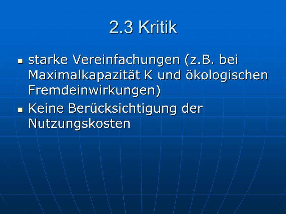 2.3 Kritik starke Vereinfachungen (z.B. bei Maximalkapazität K und ökologischen Fremdeinwirkungen) starke Vereinfachungen (z.B. bei Maximalkapazität K