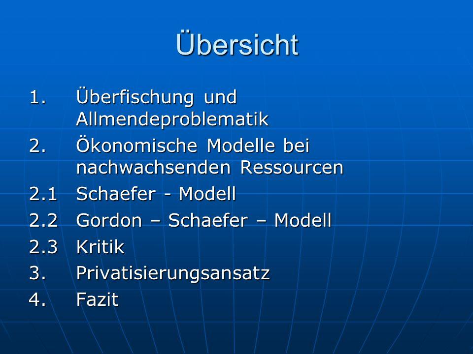 Übersicht 1. Überfischung und Allmendeproblematik 2. Ökonomische Modelle bei nachwachsenden Ressourcen 2.1 Schaefer - Modell 2.2 Gordon – Schaefer – M