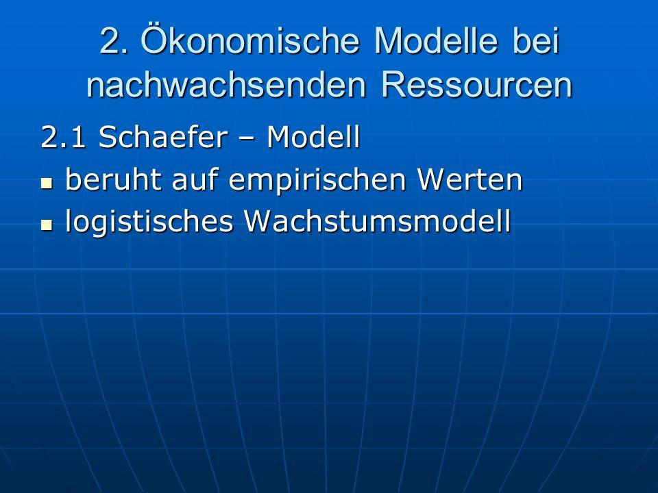 2. Ökonomische Modelle bei nachwachsenden Ressourcen 2.1 Schaefer – Modell beruht auf empirischen Werten beruht auf empirischen Werten logistisches Wa