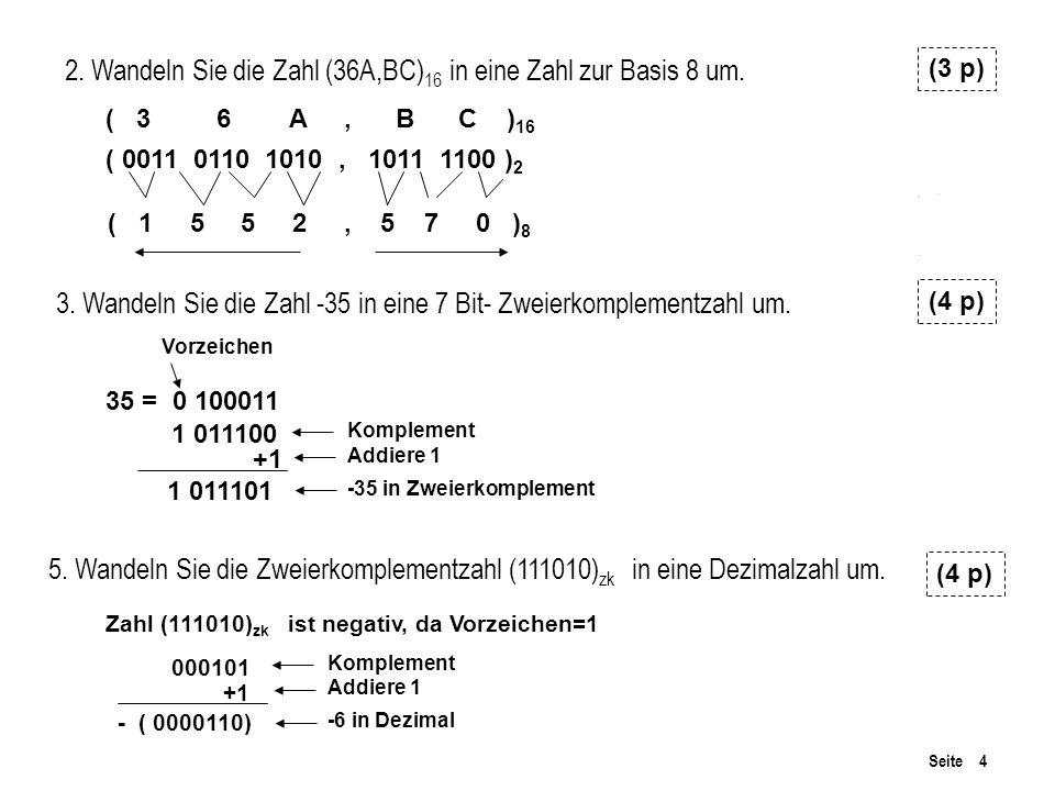 Seite 4 3.Wandeln Sie die Zahl -35 in eine 7 Bit- Zweierkomplementzahl um.