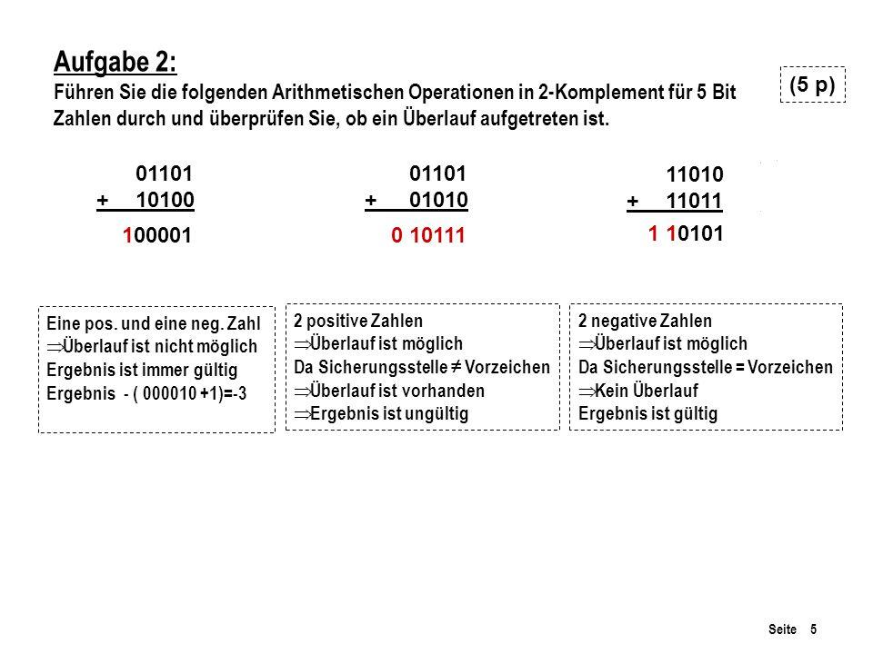 Seite 5 Aufgabe 2: Führen Sie die folgenden Arithmetischen Operationen in 2-Komplement für 5 Bit Zahlen durch und überprüfen Sie, ob ein Überlauf aufgetreten ist.