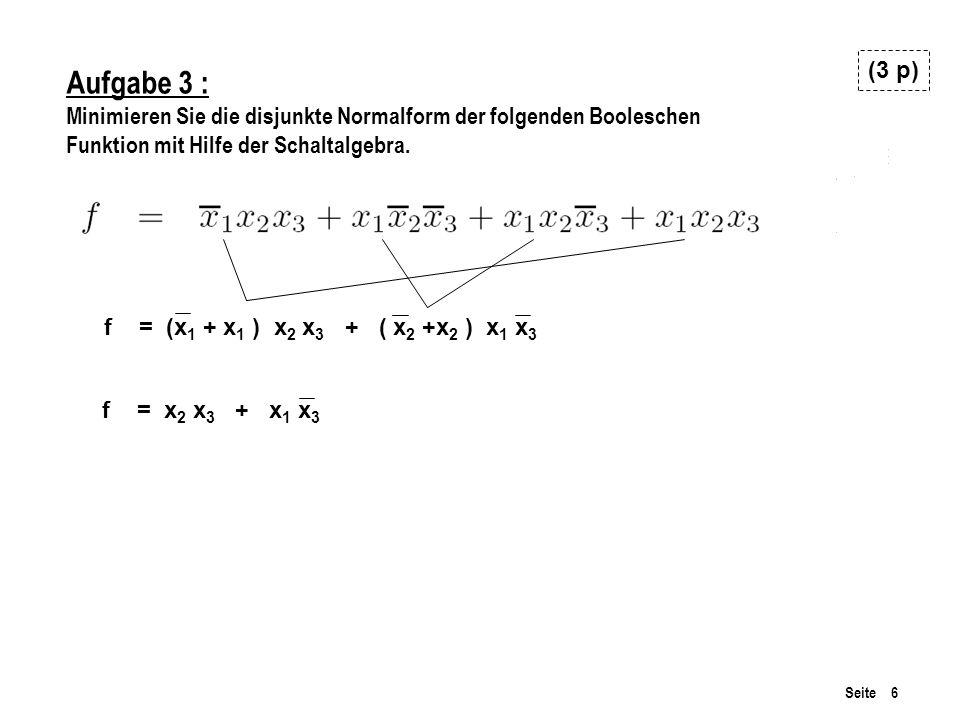 Seite 6 Aufgabe 3 : Minimieren Sie die disjunkte Normalform der folgenden Booleschen Funktion mit Hilfe der Schaltalgebra.