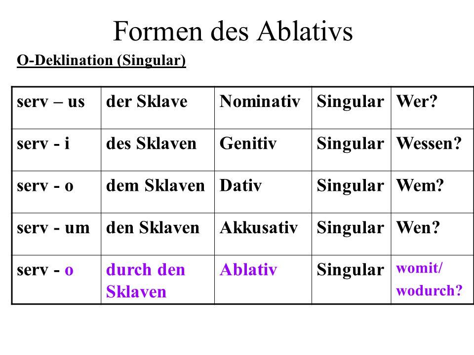 Formen des Ablativs serv – usder SklaveNominativSingularWer? serv - ides SklavenGenitivSingularWessen? serv - odem SklavenDativSingularWem? serv - umd
