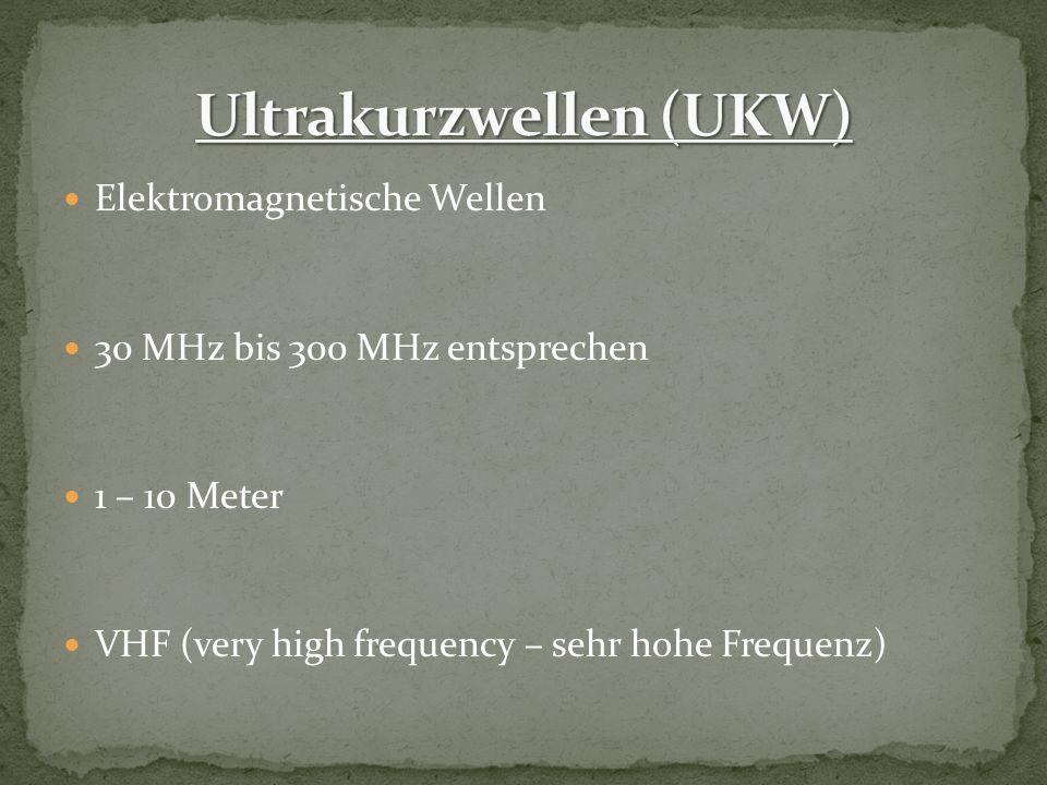 Elektromagnetische Wellen 30 MHz bis 300 MHz entsprechen 1 – 10 Meter VHF (very high frequency – sehr hohe Frequenz)