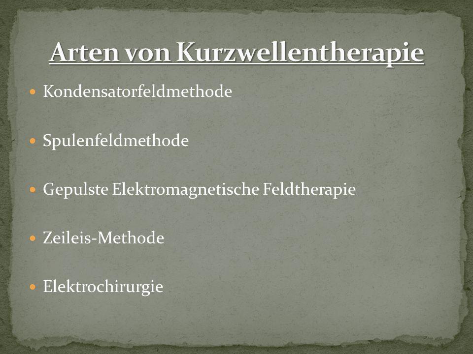 Kondensatorfeldmethode Spulenfeldmethode Gepulste Elektromagnetische Feldtherapie Zeileis-Methode Elektrochirurgie