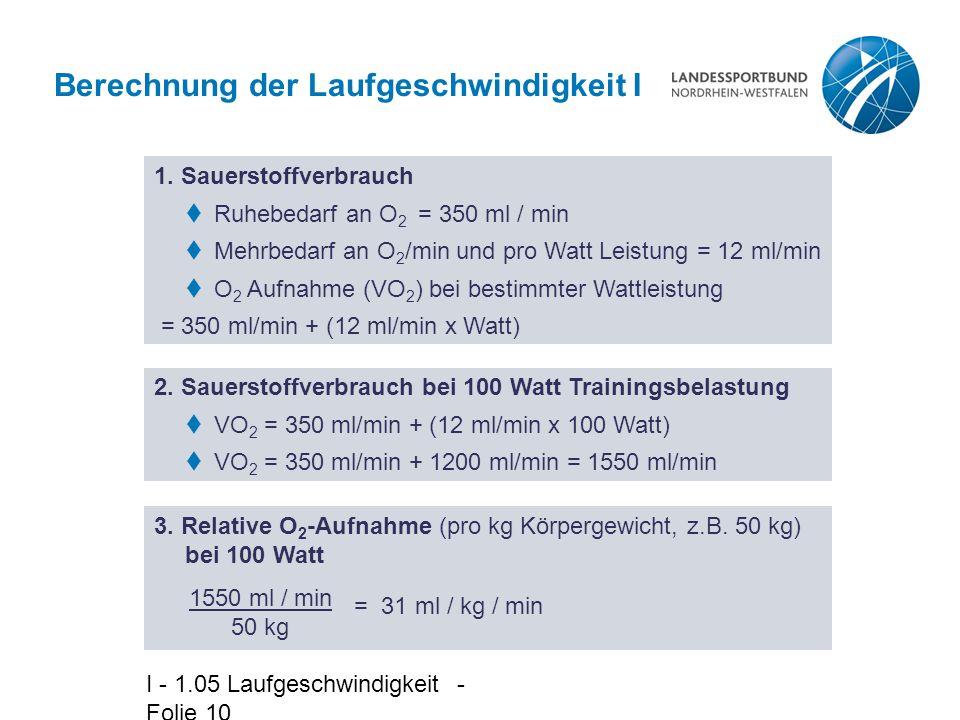 I - 1.05 Laufgeschwindigkeit - Folie 10 Berechnung der Laufgeschwindigkeit I 1. Sauerstoffverbrauch  Ruhebedarf an O 2 = 350 ml / min  Mehrbedarf an