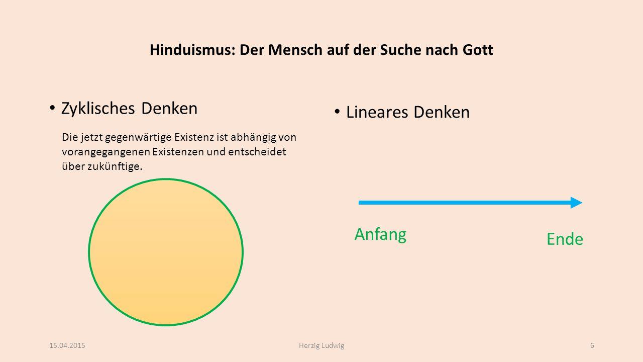 Hinduismus: Der Mensch auf der Suche nach Gott Zyklisches Denken Lineares Denken 15.04.2015Herzig Ludwig6 Anfang Ende Die jetzt gegenwärtige Existenz