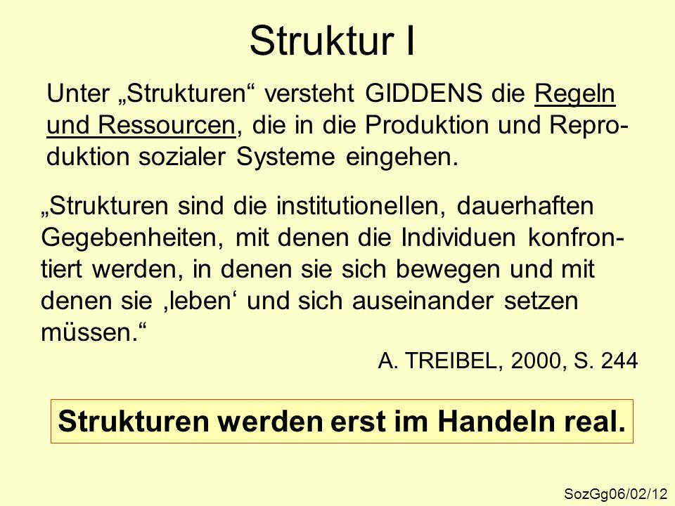 """Struktur I SozGg06/02/12 Unter """"Strukturen"""" versteht GIDDENS die Regeln und Ressourcen, die in die Produktion und Repro- duktion sozialer Systeme eing"""
