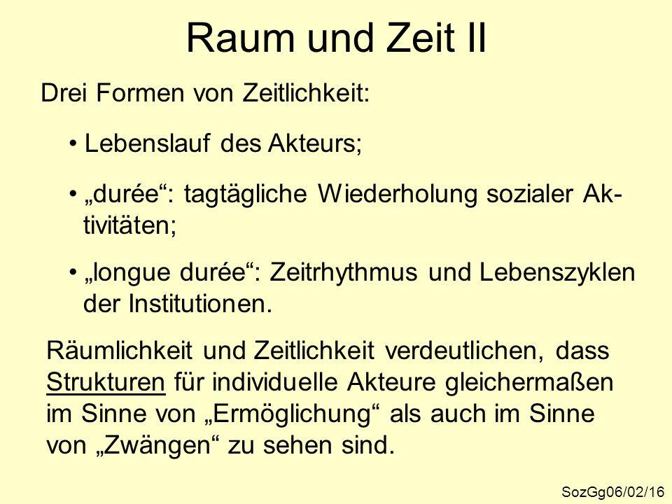 """Raum und Zeit II SozGg06/02/16 Drei Formen von Zeitlichkeit: Lebenslauf des Akteurs; """"durée"""": tagtägliche Wiederholung sozialer Ak- tivitäten; """"longue"""