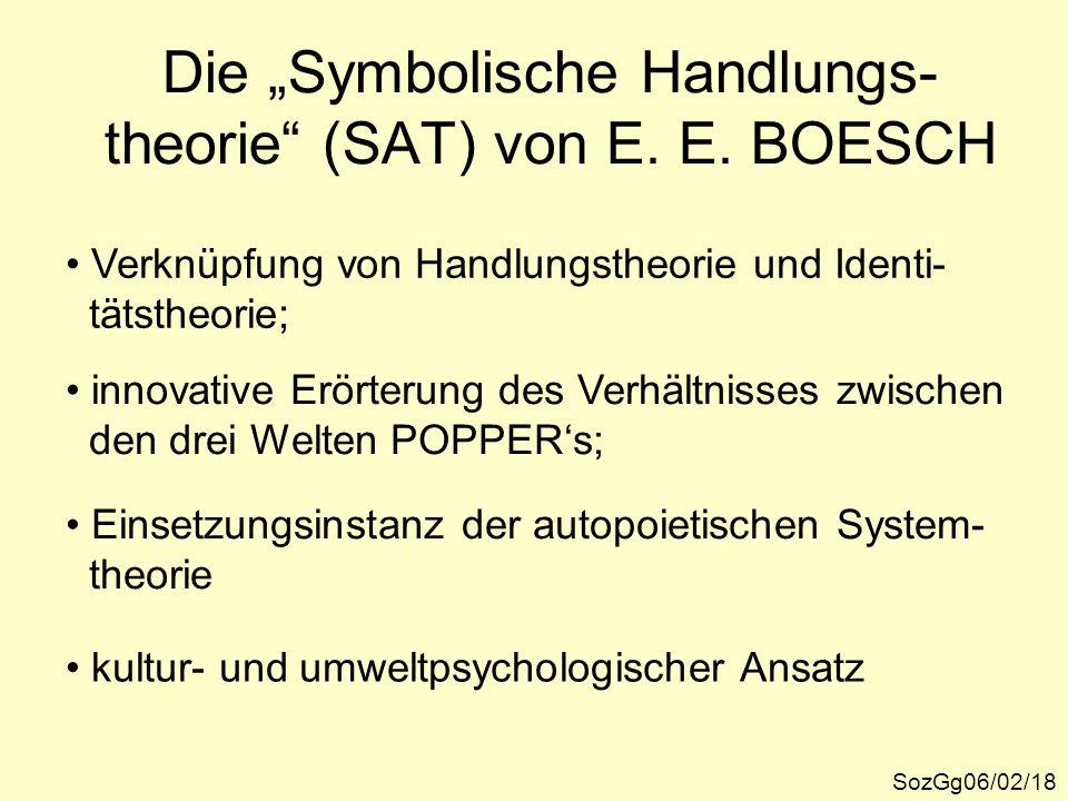 """Die """"Symbolische Handlungs- theorie"""" (SAT) von E. E. BOESCH SozGg06/02/18 Verknüpfung von Handlungstheorie und Identi- tätstheorie; innovative Erörter"""