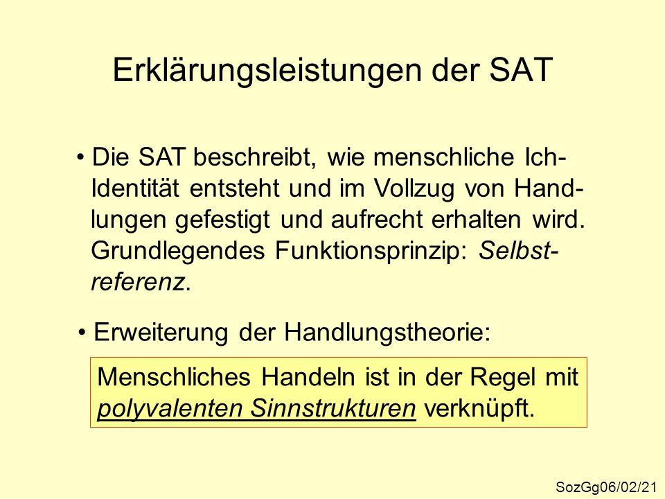 Erklärungsleistungen der SAT SozGg06/02/21 Die SAT beschreibt, wie menschliche Ich- Identität entsteht und im Vollzug von Hand- lungen gefestigt und a