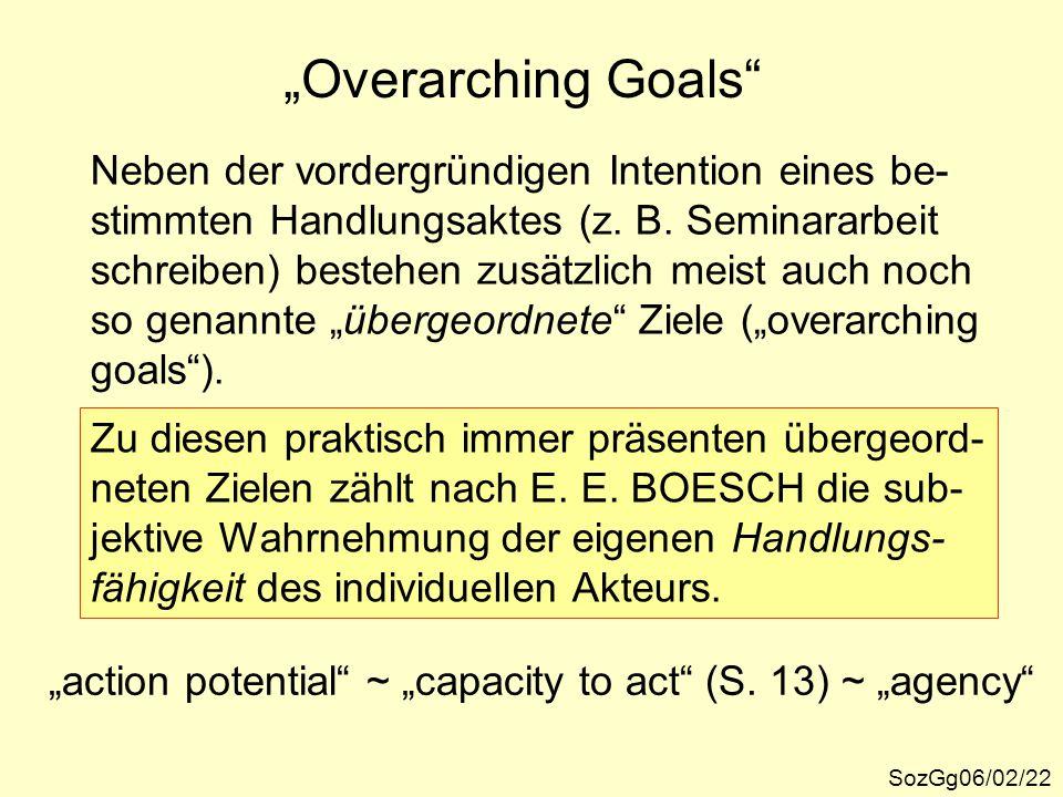 """""""Overarching Goals"""" SozGg06/02/22 Neben der vordergründigen Intention eines be- stimmten Handlungsaktes (z. B. Seminararbeit schreiben) bestehen zusät"""
