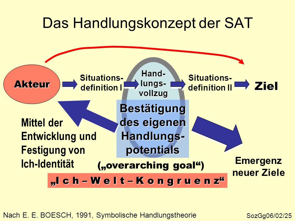 Das Handlungskonzept der SAT SozGg06/02/25 Akteur Ziel Situations- definition I Hand-lungs-vollzug Situations- definition II Bestätigung des eigenen H