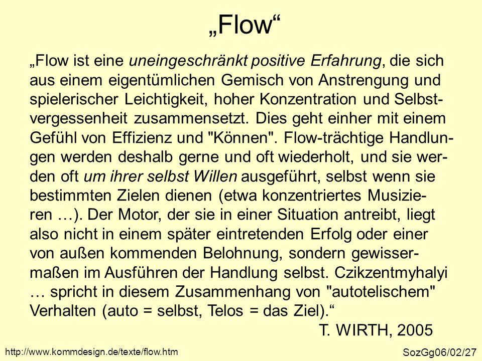 """""""Flow"""" SozGg06/02/27 """"Flow ist eine uneingeschränkt positive Erfahrung, die sich aus einem eigentümlichen Gemisch von Anstrengung und spielerischer Le"""