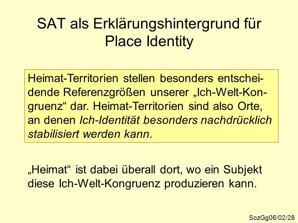 """SAT als Erklärungshintergrund für Place Identity SozGg06/02/28 Heimat-Territorien stellen besonders entschei- dende Referenzgrößen unserer """"Ich-Welt-K"""