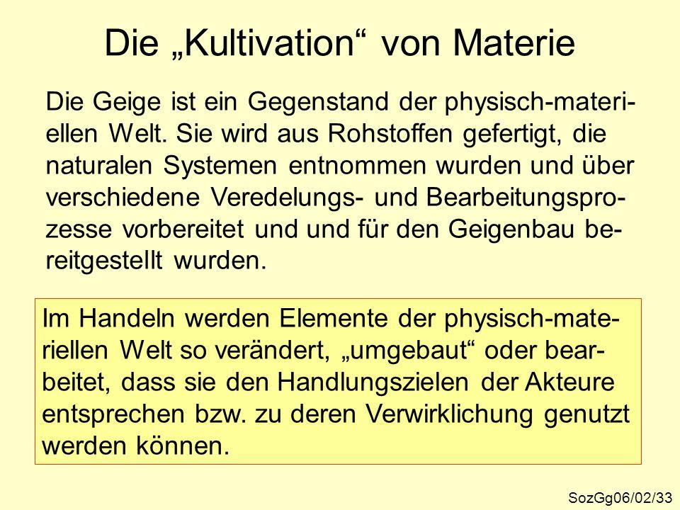 """Die """"Kultivation"""" von Materie SozGg06/02/33 Im Handeln werden Elemente der physisch-mate- riellen Welt so verändert, """"umgebaut"""" oder bear- beitet, das"""