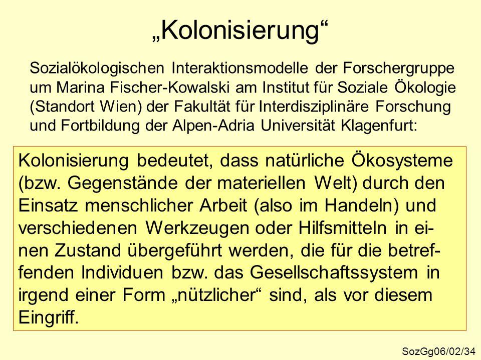 """""""Kolonisierung"""" SozGg06/02/34 Kolonisierung bedeutet, dass natürliche Ökosysteme (bzw. Gegenstände der materiellen Welt) durch den Einsatz menschliche"""