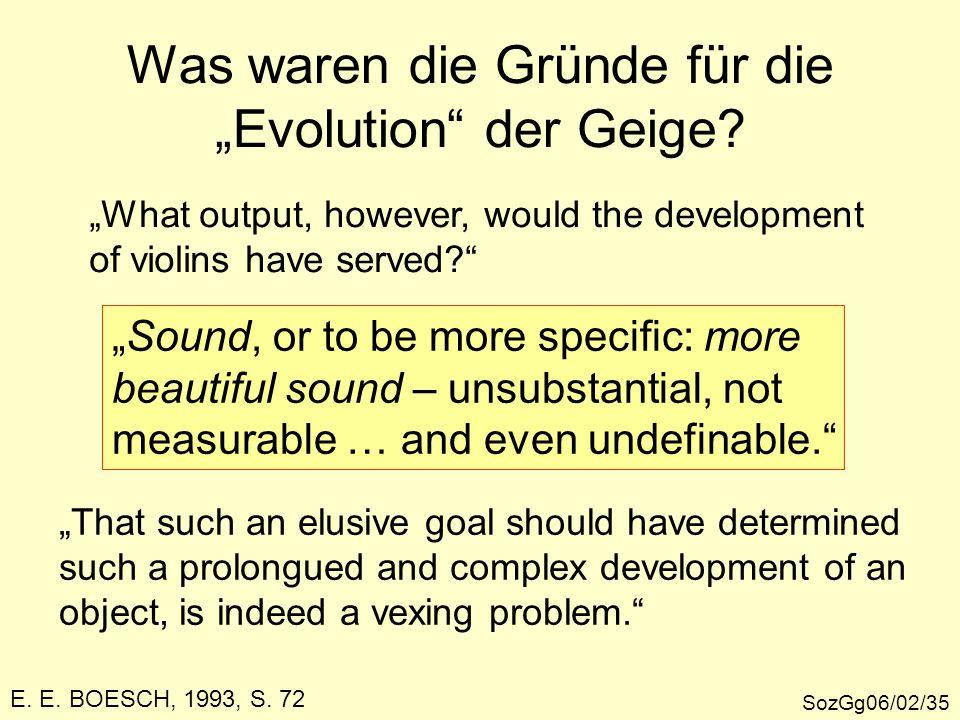 """Was waren die Gründe für die """"Evolution"""" der Geige? SozGg06/02/35 """"What output, however, would the development of violins have served?"""" """"Sound, or to"""