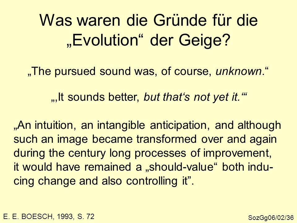 """SozGg06/02/36 E. E. BOESCH, 1993, S. 72 Was waren die Gründe für die """"Evolution"""" der Geige? """"The pursued sound was, of course, unknown."""" """",It sounds b"""