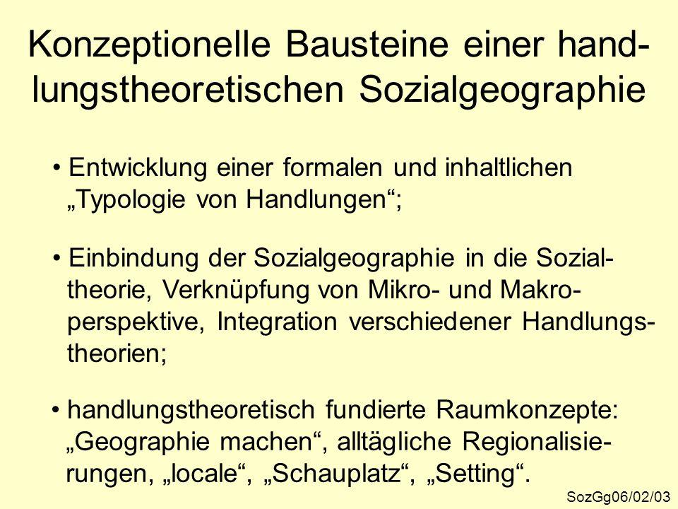 """Konzeptionelle Bausteine einer hand- lungstheoretischen Sozialgeographie SozGg06/02/03 Entwicklung einer formalen und inhaltlichen """"Typologie von Hand"""